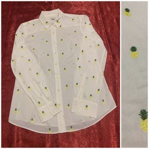 J. Crew | Pineapple Button Up Blouse | S